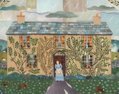 Beatrix Potter Art Print, Hill Top, Illustration, Writers Houses, Wall Art, Peter Rabbit, National Trust, Lake District, Amanda White Design
