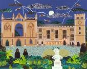 Lord Byron Greeting Card, Haunted, Newstead Abbey, Creepy, Ghosts, English Romantics, Byron, Collage, Naive Art, Art Card