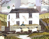 Wordsworth,Dove Cottage Literary Greeting Card,Lake District,Grasmere, Writers Houses, Card for Poetry Lovers, Amanda White Design, Fine Art