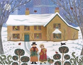 George Eliot Christmas Card, Holiday Card, The Holly and the Ivy, Snow, Writers Houses, Art Card, Bookish, Naive Art, Amanda White Design