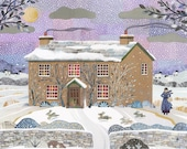 Beatrix Potter Print,Hill Top, Literary Print,Winter Scene,Lake District,Peter Rabbit,National Trust, Wall Art, Amanda White Design, Collage