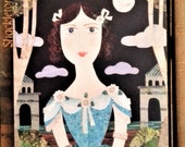 Imaginary Portrait, Greeting Card, Theatre, Naive, Collage, History, Anne Bronte, scarborough, Theatrical,Amanda White Design,Recycled Art,