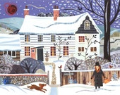 Virginia Woolf Christmas Card·Holiday Card·Traditional Snow Scene·Bookish·Writer's House·Bloomsbury Group·Dog·Amanda White Design·British