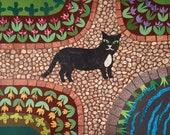 Original Collage, Cut Paper, Naive Art, Cat Art, Garden Art, Wall Art, Recycled Art, Flowers, Amanda White Design, Colourful, British Artist