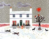 John Keats Christmas Card, Holiday Card, Keats House, Naive Art, Literary, Writers' Houses, Snow Scene, London, Cats, Amanda White Design