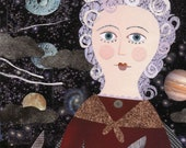 Astronomy Greeting Card, Comets, Collage, Planets, Naive Art, Astronomer, Famous Women, History, Stars, Portrait, Night Sky, Womens History