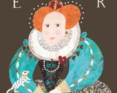 Elizabeth I Greeting Card, Tudor, Collage, Naive Art, Queen, Redhead, English, Costume, British, History, Portrait, Elizabethan, Royalty