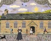 Bronte Sisters Greeting Card, School Teacher, Charlotte Bronte, Haworth, Village School,Collage, Literary Card, Naive,Amanda White Design