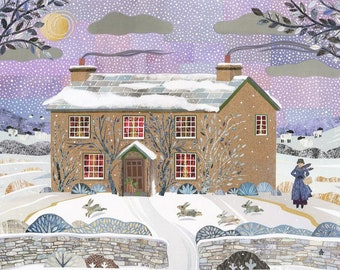 BEATRIX POTTER Christmas Holiday Card·Traditional Snow Scene·Lake District·Hill Top Farm·Writers Houses·Collage·Amanda White Design·Art Card