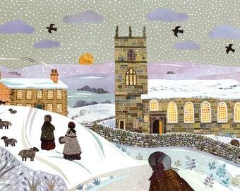 Brontë Sisters Christmas Card·Haworth Parsonage·Naive·Jane Eyre·Wuthering Heights·SnowScene·Amanda White Design·Traditional·Literary Card