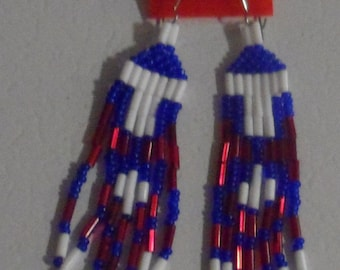 Red, White, and Blue seed bead earrings.