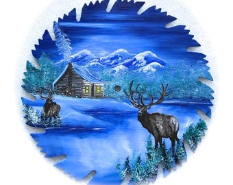 Hand Painted Saw Blade Mountain Blue Winter Log Cabin and ELK