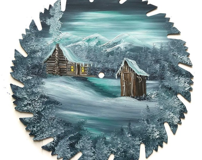 Hand Painted Saw Blade Mountain Winter Gray Log Cabin and Out House NEW