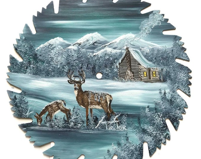 Hand Painted Saw Blade Mountain Winter Gray Green Cabin and Deer NEW