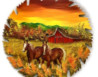 Hand Painted Saw Blade Sunset  Red Barn and Clydesdale Horses