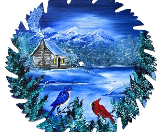 Hand Painted Saw Blade Mountain Winter Log Cabin and Cardinal Bluebird