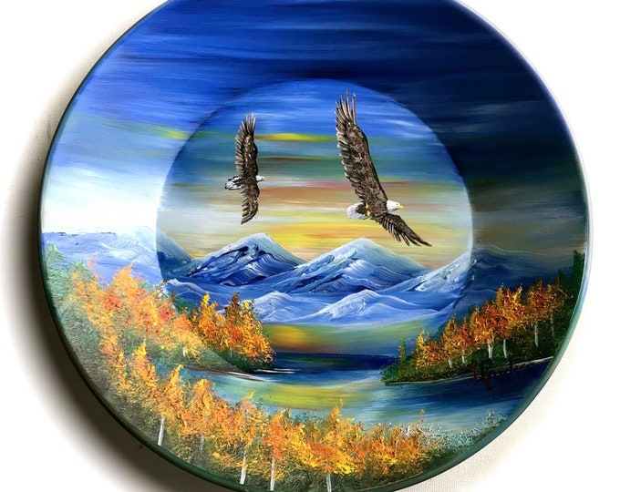 Hand Painted 11 Inch Gold Pans Mountain Fall Eagles