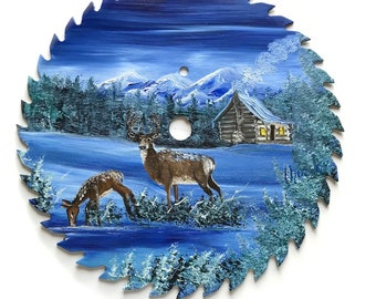 Hand Painted Saw Blade Mountain Winter Blue Deer and Log Cabin