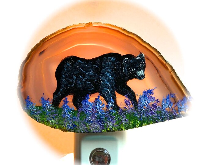 Agate Night Lights  Sensor w 7 watt bulb Hand Painted Oils  Black Bear Night Light