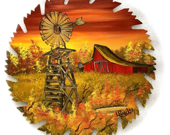 Hand Painted Saw Blade Mountain Fall SUNSET Red Barn and Windmill
