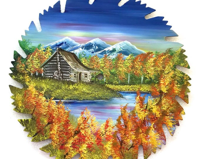 Hand Painted Saw Blade Mountain Scenery with Log Cabin  Fall