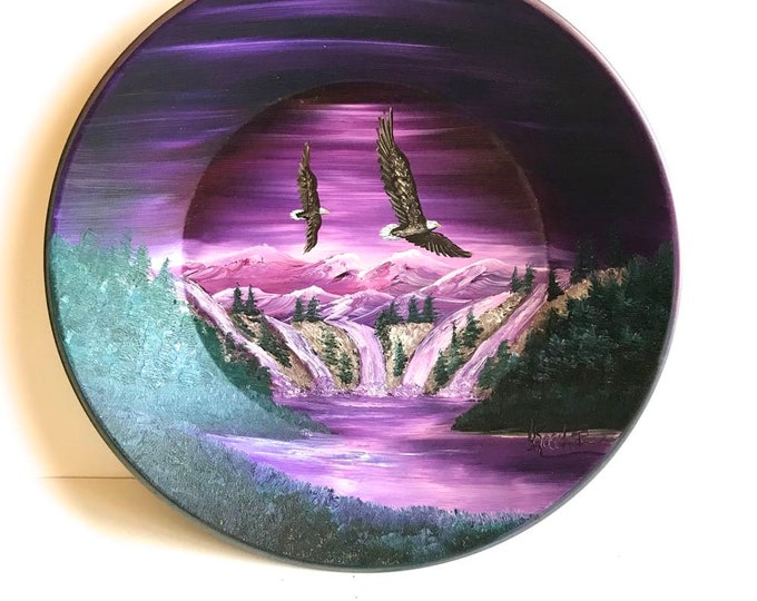 Hand Painted 11 Inch Gold Pans Mountain Lavender Winter Eagles On Sale!!