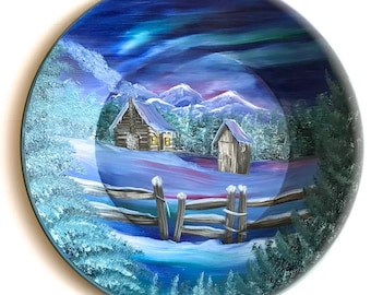 Hand Painted 11 Inch Gold Pans Mountain Winter Cabin and Out House Northern Lights