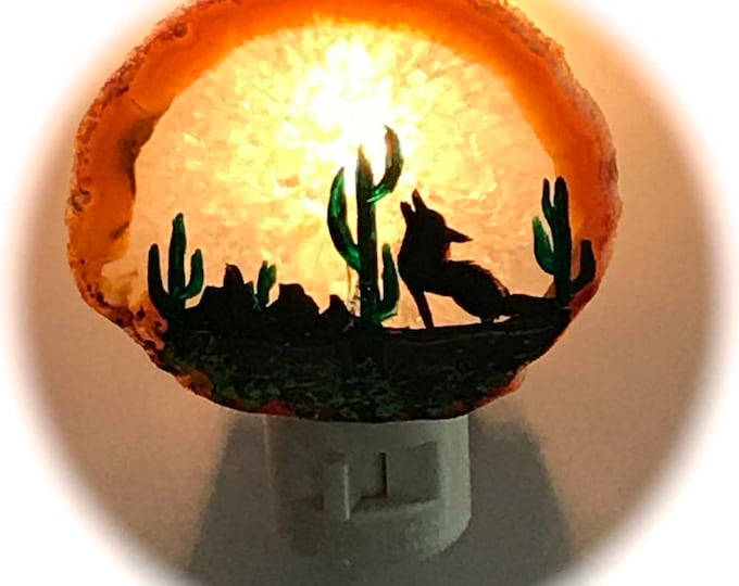 Agate Night Lights  Swivel Plug in  Hand Painted Oils Southwestern Coyote