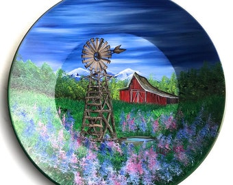 Hand Painted 11 Inch Gold Pans Mountain Summer Red Barn and Windmill