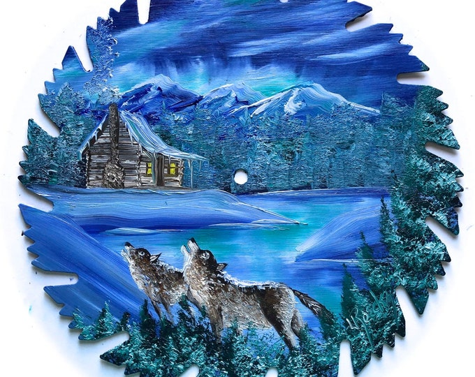 Hand Painted Saw Blade Winter Blue Mountain Northern Lights Log Cabin and Wolves