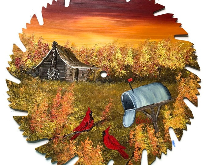 Hand Painted Saw Blade Mountain FALL Sunset Cabin Cardinals and Mailbox (Will Personalize)