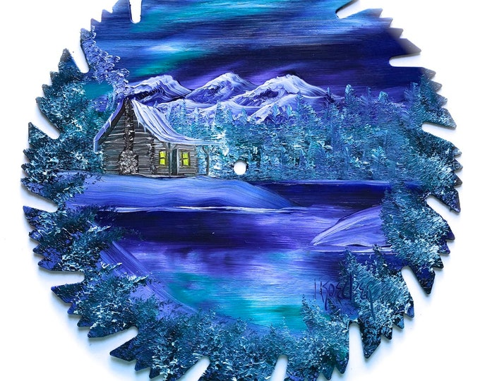 Hand Painted Saw Blade Mountain Log Cabin Winter Blue  Northern Lights Scenery