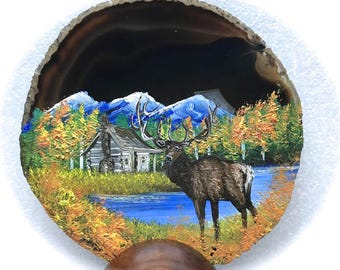 Hand Painted Brazilian Agate Fall Log Cabin and Elk