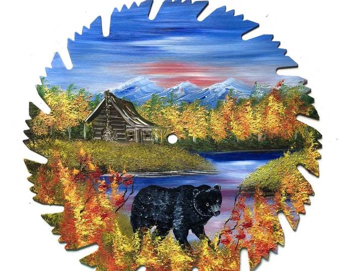 Hand Painted Saw Blade Mountain Fall Cabin and Black Bear