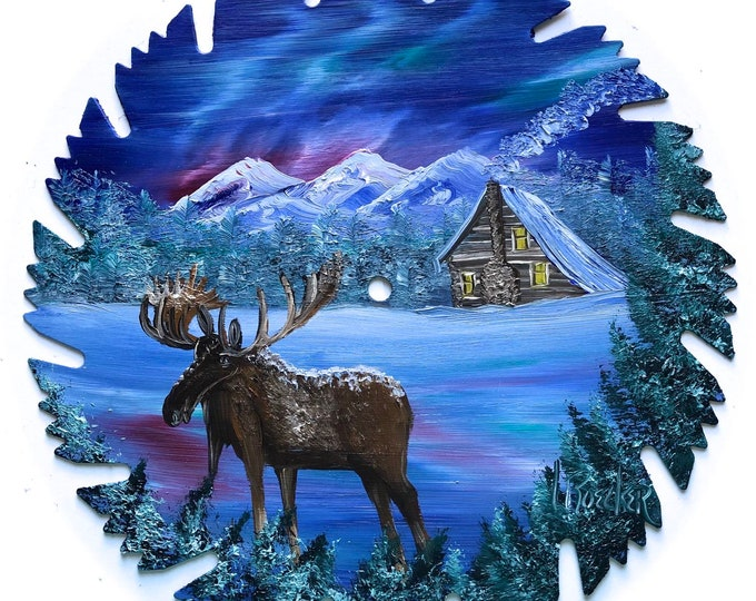 Hand Painted Saw Blade Winter Blue Mountain Northern Lights Log Cabin and Moose
