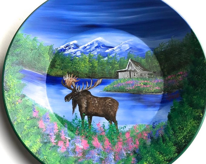 Hand Painted 11 Inch Gold Pans Mountain Summer Cabin and Moose