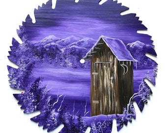 Hand Painted Saw Blade Mountain Lavender Winter OUT HOUSE