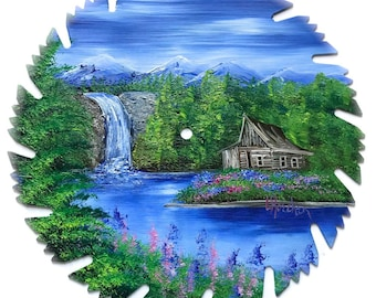 Hand Painted Saw Blade Mountain Summer Log Cabin and Waterfall