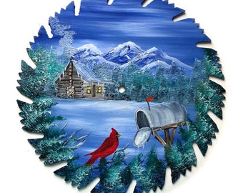 Hand Painted Saw Blade Mountain Winter Cabin Cardinals and Mailbox (Will Personalize)
