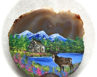 Hand Painted Brazilian Agate Spring Log Cabin and Deer