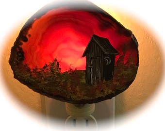Agate Night Lights  Sensor w 7 watt bulb Hand Painted Oils  Fall Out House