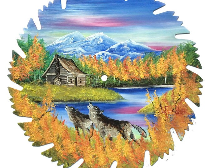 Hand Painted Saw Blade Fall Mountain Log Cabin and Wolves
