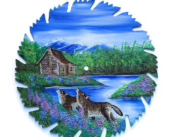 Hand Painted Saw Blade Spring Mountain Log Cabin and Wolves