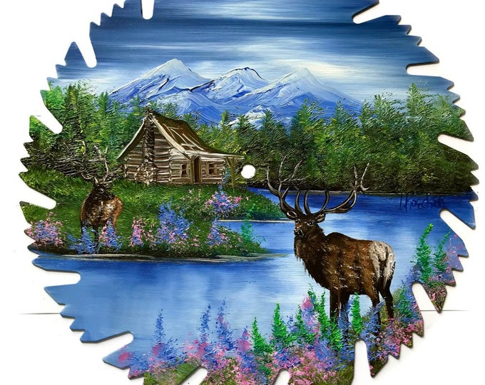 Hand Painted Saw Blade Mountain Summer Log Cabin and ELK