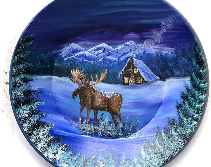 Hand Painted 11 Inch Gold Pans Northern Lights Moose