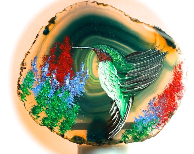 Agate Night Lights  Swivel Plug in  Hand Painted Oils Hummingbird
