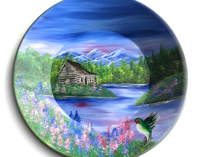 Hand Painted 11 Inch Gold Pans Mountain Summer Cabin and Hummingbird