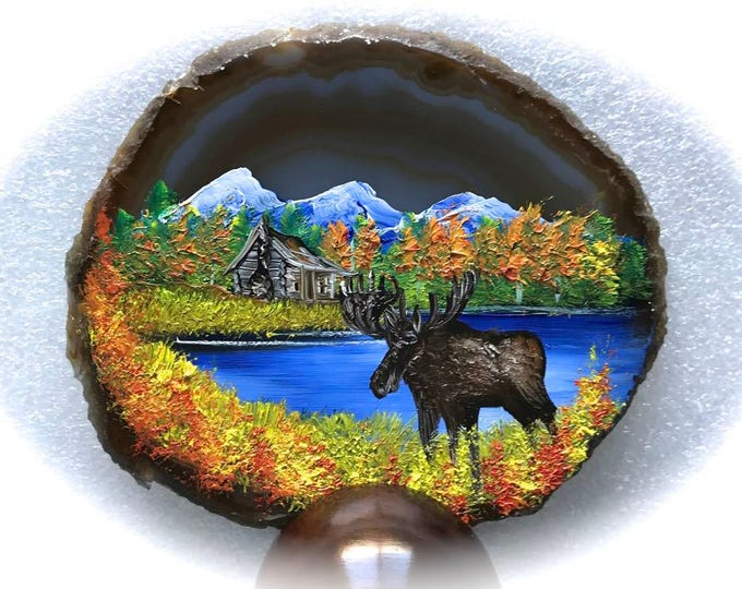 Hand Painted Brazilian Agate Fall Log Cabin and Moose