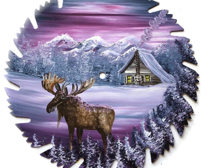 Hand Painted Saw Blade  Mauve Winter Log Cabin and Moose