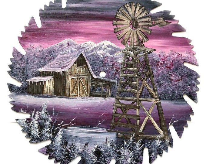 Hand Painted Saw Blade Mountain  Mauve Winter Barn and Windmill